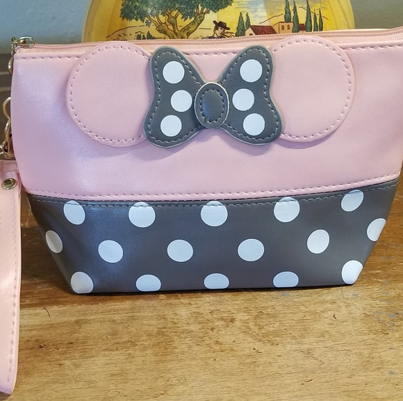 None Handbags - Minnie Mouse Bow Cosmetic Bag Pink and Grey